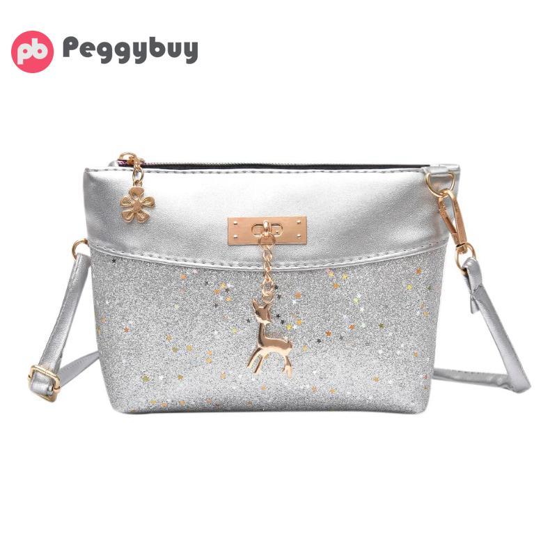 2018 Hot Sale Wome Shining Sequins Crossbody Bag Fashion PU Leather Shoulder Handbag Zipper Messenger Bags