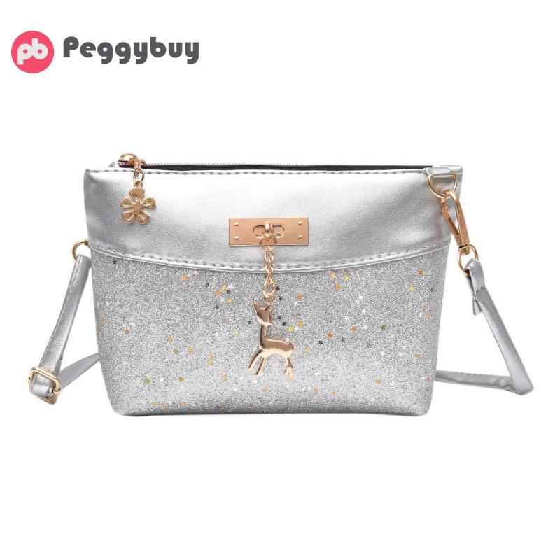 2018 Hot Sale Wome Shining Sequins Crossbody Bag Fashion PU Leather Shoulder Handbag Zipper Messenger Bags