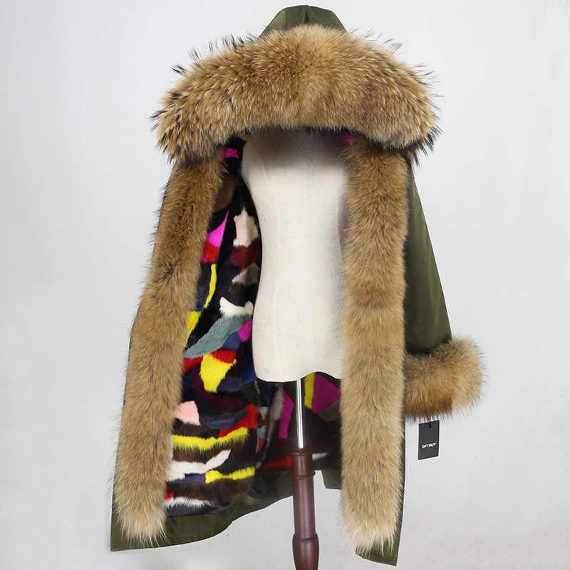 Kış Ceket Kadınlar Marka X uzun Parka Su Geçirmez Giyim Gerçek Kürk Ceket Doğal Rakun Kürk Hood Vizon Kürk Astar ayrılabilir