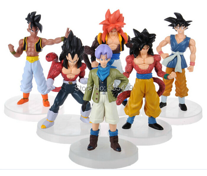 NEW Hot 6pcs/set 12cm Dragon Ball GT Super Saiyan Trunks vegeta Son Goku uub Kakarotto PVC Action Figure toys Christmas gift toy new hot 21cm dragon ball super saiyan 3 son goku kakarotto action figure toys doll collection christmas gift with box sy889