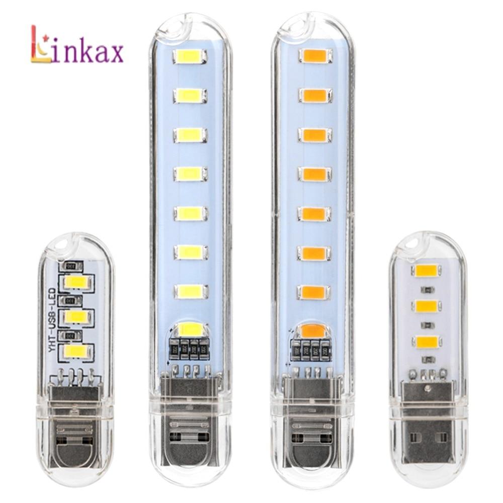 Mini Portable USB LED Lamp 5V 1.5W Super Bright Book Light Reading Lamp For Power Bank PC Laptop Notebook 3LED/8LED USB Light
