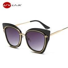 Uvlaik модный бренд Дизайн кошачий глаз Солнцезащитные очки для женщин Для женщин Винтаж негабаритных Защита от солнца Очки сплав Рамка прозрачные линзы новые женские Защита от солнца стекло