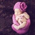 0-3months Newbrno Младенческой Ребенка Мальчики Девочки Вязание Шапочки Hat Спальный Мешок Фото Опора Ванна Мешки Сна Для Младенцев