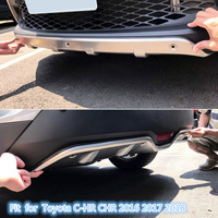 Stainless Steel Accessories Exterior Front & Rear Skid Plate Bumper Board 2pcs Fit for Toyota C HR CHR 2016 2017 2018