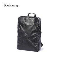 Kvkver PU Leather Male School Backpack For Teenagers Backbag Waterproof Brand Cool Youth Designer Black Fashion