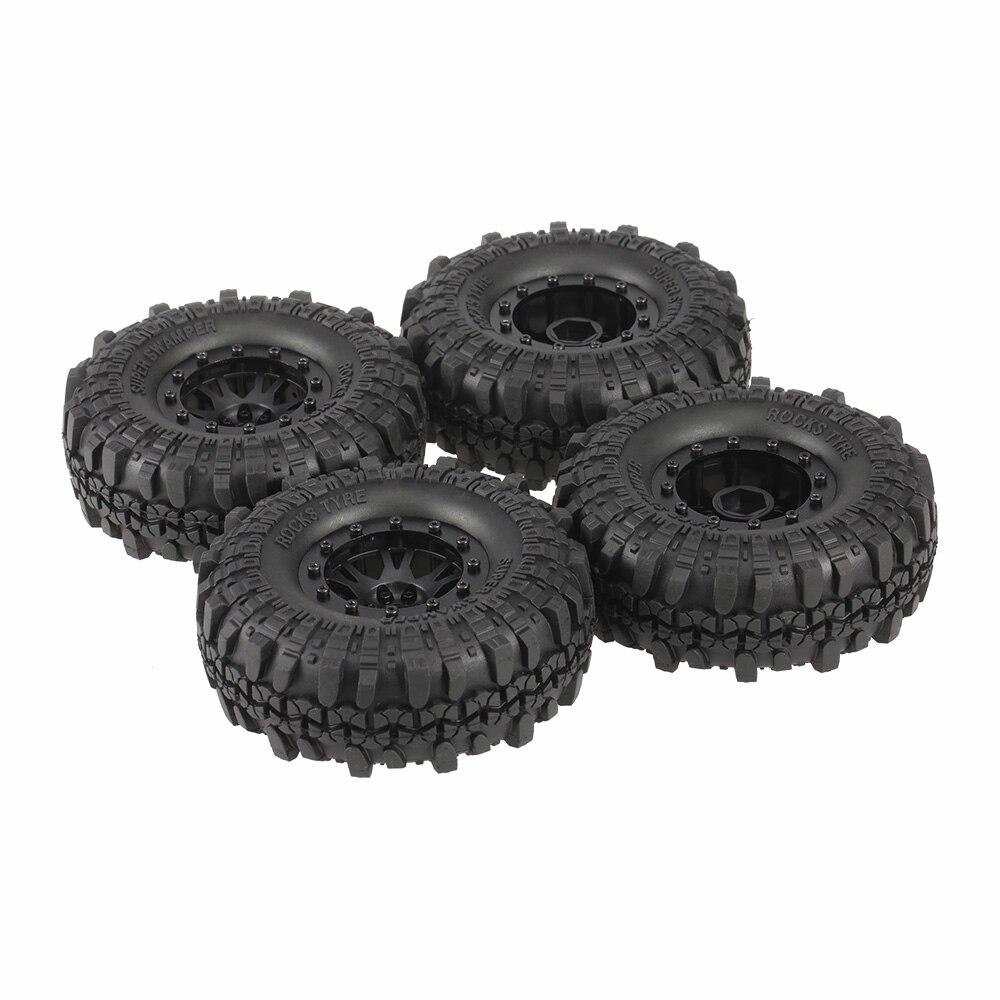 4pcs 4020-2 110mm 1.9in Rim Rubber Tyre Wheel Set for AXAIL SCX10 90046 RC4WD D90 1/10 RC Rock Crawler Car mxfans 4 x rc1 10 rock crawler black alloy 7 spoke wheel rim simulation rubber tyre