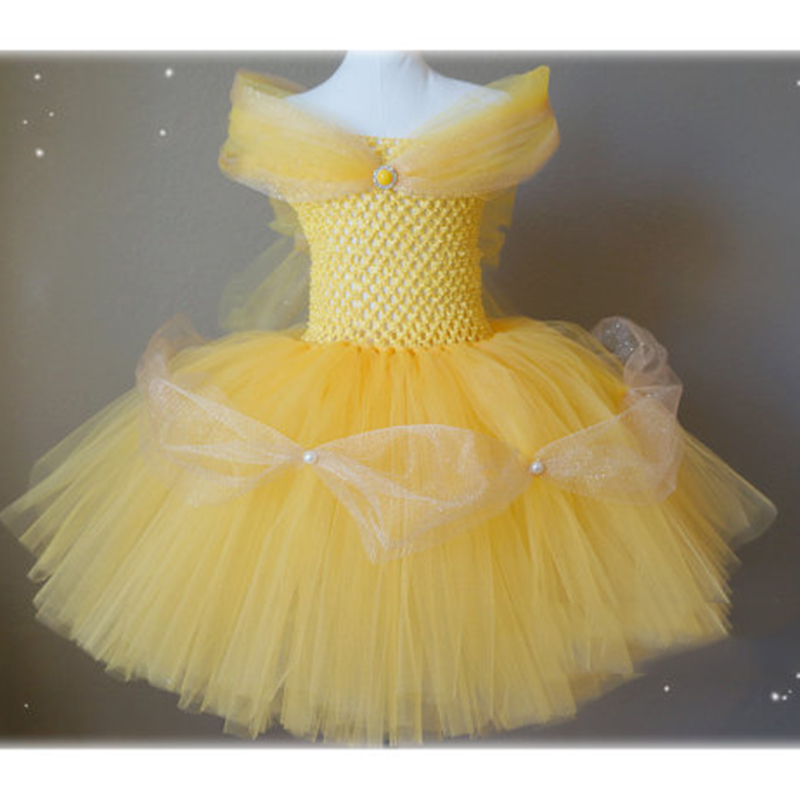 Inspired Belle Dress Beauty and The Beast Princess Dress 2-10y Girl Tutu Dress Cosplay Costume Halloween Baby Girl Kids Dress christmas halloween princess dress cosplay snow white dress costume belle princess tutu dress kids clothes teenager party 10 12