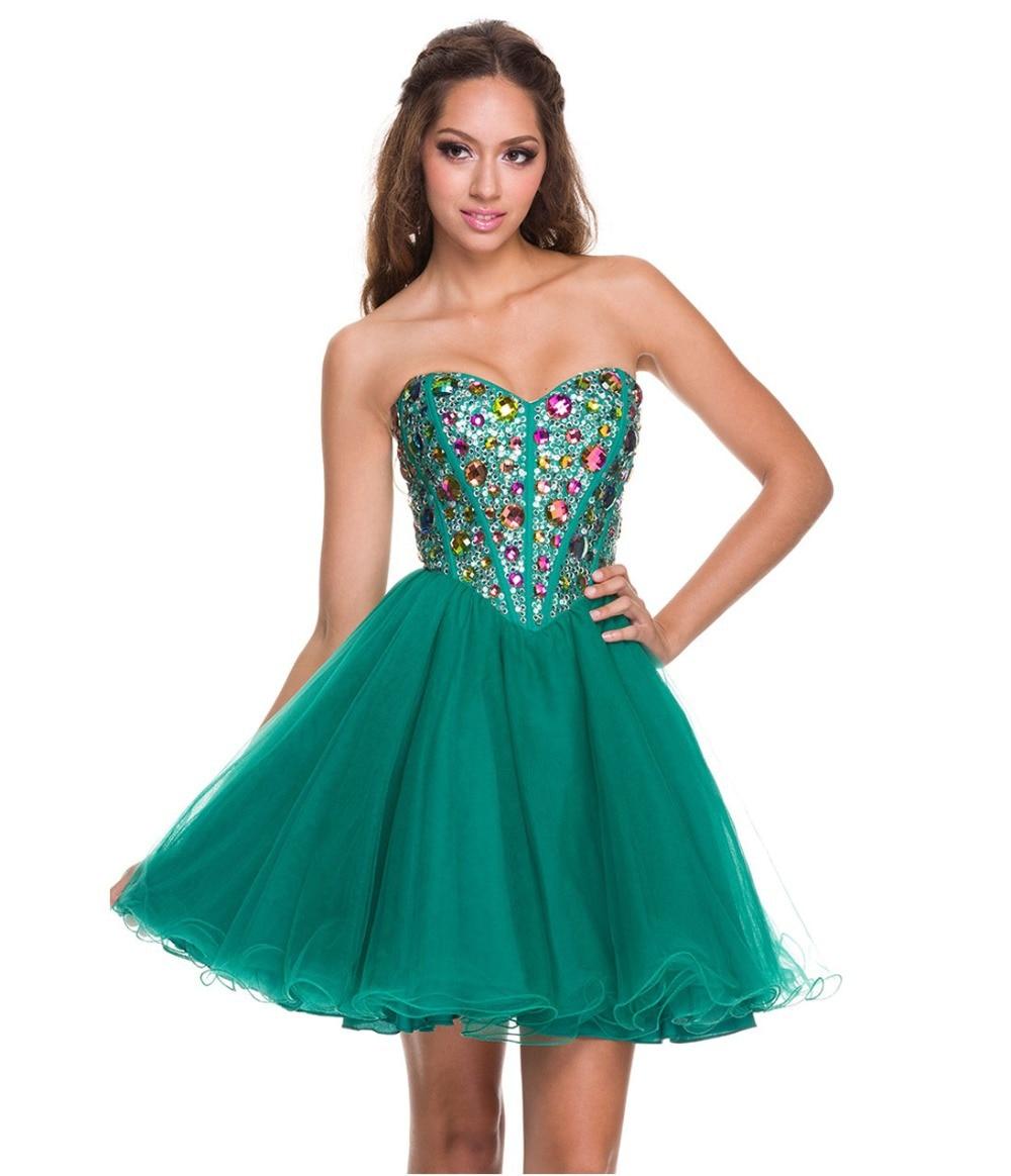 Hunter Short Corset Lace up Graduation Dresses Colorful Rhinestones ...