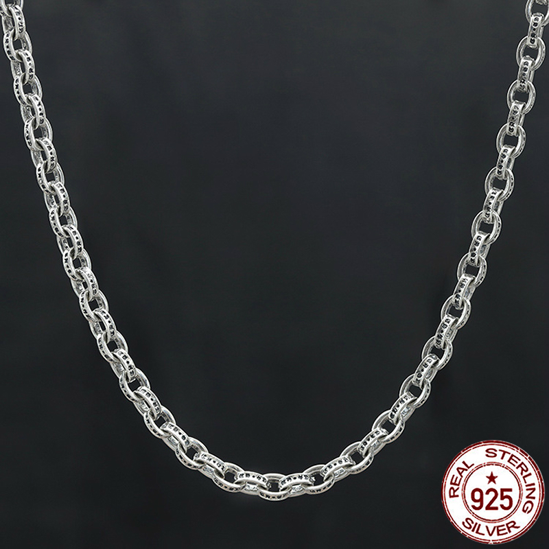 100% S925 sterling silver men's necklace personality fashion classic style punk hip hop style letter shape 2018 new gift to send new arrival 22 11cm 15 style 15pcs elegant diy writting envelope love letter supplies classic design letters pad