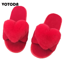 VOTODA Women Fur Slippers Rabbit Heart Wool Slippers Flat Soft Home Winter Warm Slippers Female Cute Plush Flip Flop Woman Shoes