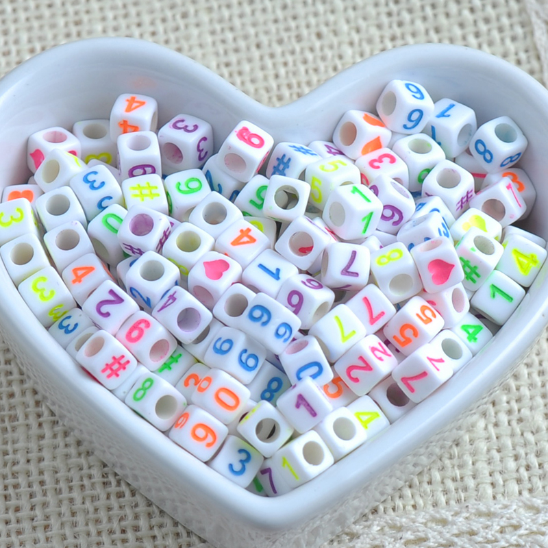 Beads 6mm 200pcs Mixed Color Number Cube Acrylic Spacer Beads Neon Beads For Jewelry Making Diy Ykl0214x Attractive Designs;