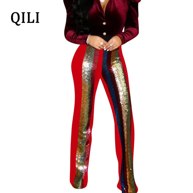 QILI Women Flare Pants Striped Sequin High Waist Elastic Fashion Trousers Plus Size S- XXXL Casual