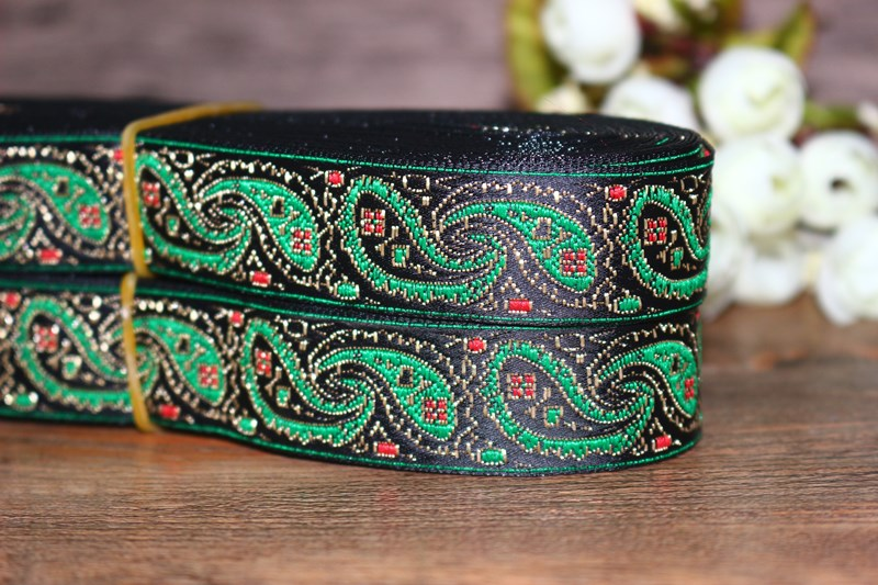 10yardslots Woven Jacquard Ribbon 2.4cm  black background green paisley pattern LS-3537