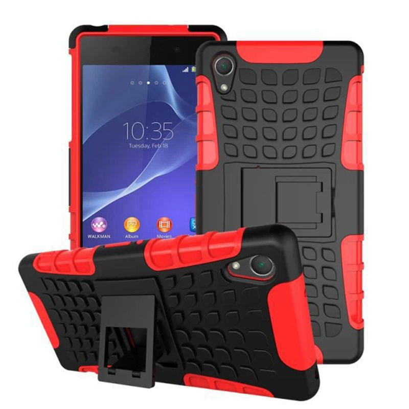 YSW For <font><b>Sony</b></font> <font><b>Xperia</b></font> <font><b>Z2</b></font> <font><b>Case</b></font> Armor Hybrid Shockproof Silicone Hard Stand Cover For <font><b>Sony</b></font> <font><b>Xperia</b></font> <font><b>Z2</b></font> L50 D6503 D6502 image