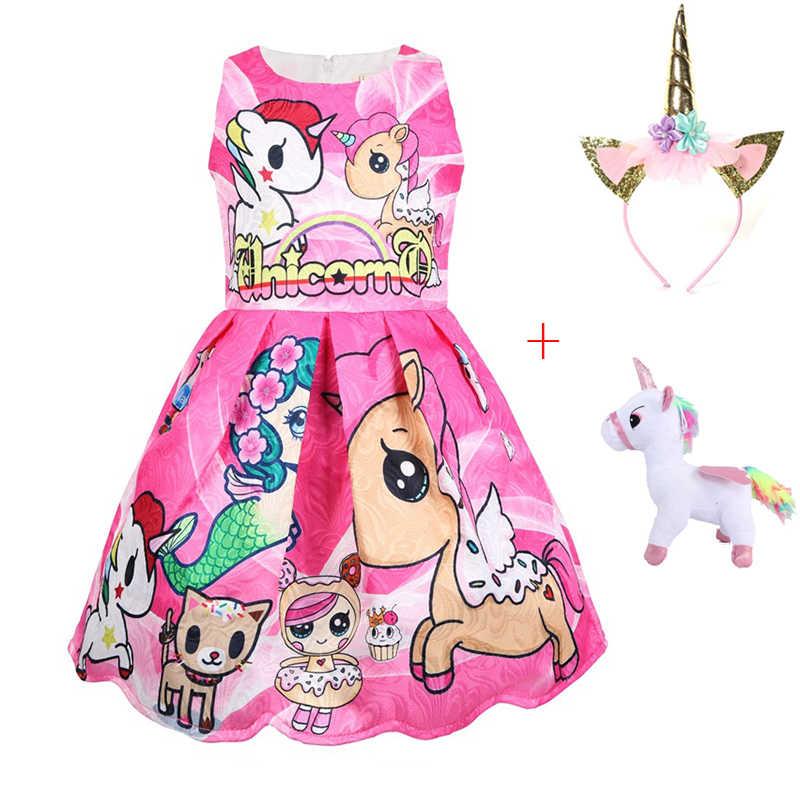 """Платье для маленьких девочек Летнее платье принцессы повязка на голову """"Единорог"""" Лига Легенд костюмы вечерние платья Детская Одежда для девочек на день рождения, единорог, платье куклы для детей"""