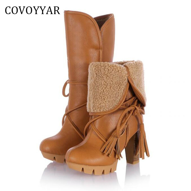 2019 Fashion Fringe Platform Snow Boots Winter Comfort Lace Up Women Shoes High Heels Thick Heel Women Boots Sizes 34~43 WBS523