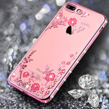 Glitter diamond border Rhinestones floral ultra thin clear soft TPU silicone back cover phone cases For iphne 6S 7 plus 5 5S SE