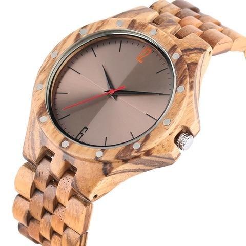 Retro Retro Wooden Watches Quartz Watches Men Unique Smooth Dial Silver Rivets Full Wood Wrist Watches Fashion Simple Man Clock Karachi