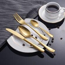 Прямая поставка, столовые приборы из нержавеющей стали, 4 набора, золото, серебро, основной нож для еды, вилка, ложка, посуда, кухонная столовая посылка, европейский стиль