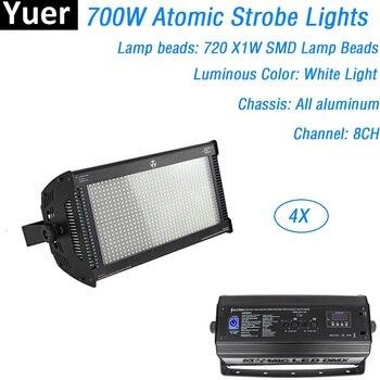4X LED DJ Lampu Strobo Yang Kuat 700W 720 PCS 1W Warna Putih LED Flash Lampu DMX Kontrol Suara stroboscope untuk Disco DJ Bar Club