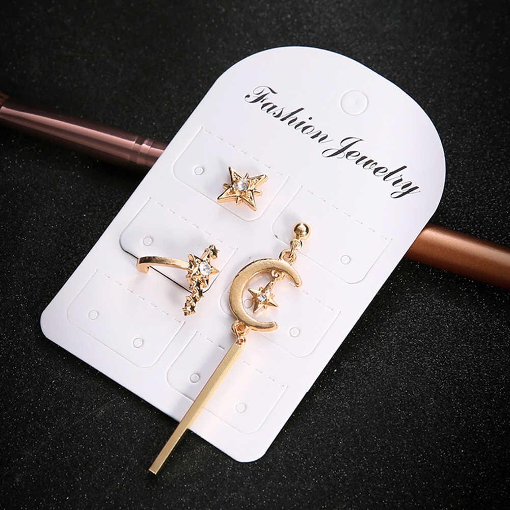 3Pcs/Sets Ear Stud Earring Chic Boho Lady Gold Star Moon Crystal Earring Drop Screw-Back 2018 New Jewelry Ear Stud Earring