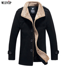 M-5XL New Man Fashion Full Sleeve Turn-down Collar Spring Winter Thick Solid Wool