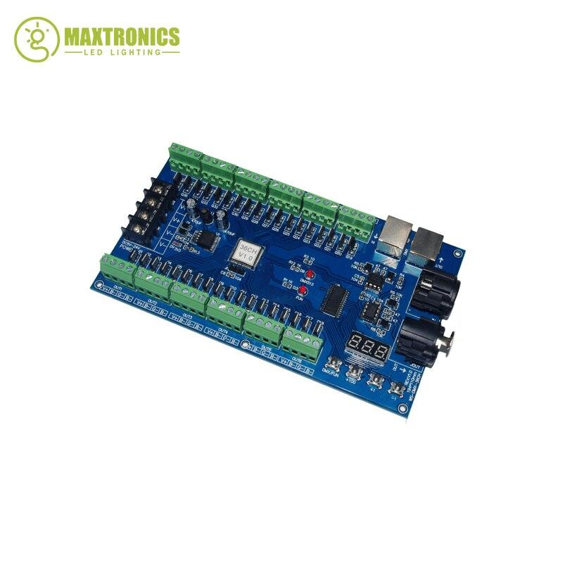 Easy 36 channel 12groups 36CH RGB dmx512 decoder DC5V-24V for LED strip light led lamp wholesale 1pcs dc5v 36v 36 channel 12groups rgb easy 36ch dmx512 xrl 3p led controller decoder dimmer drive for led strip light