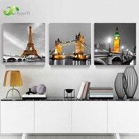 3 Panel Paris Effiel Kulesi Tuval Yağlıboya Resim Şehir Bina Köprü Manzara Duvar Sanatı Modern Baskı Hiçbir Çerçeve PR119