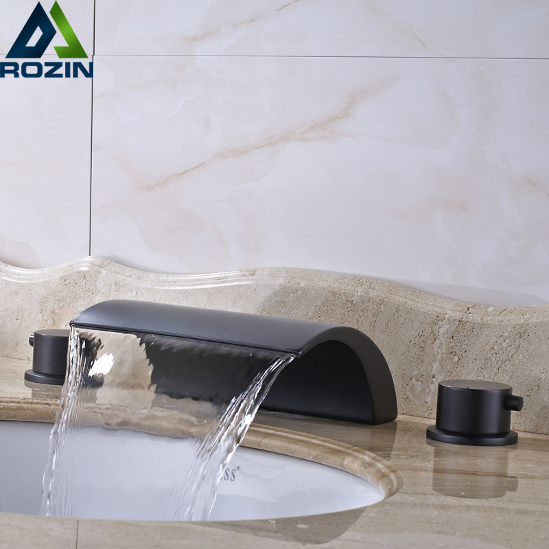 Classic Bronze Black Hot and cold water Switch Double Handle Basin Taps Bathrooms Faucet Widespread Waterfall