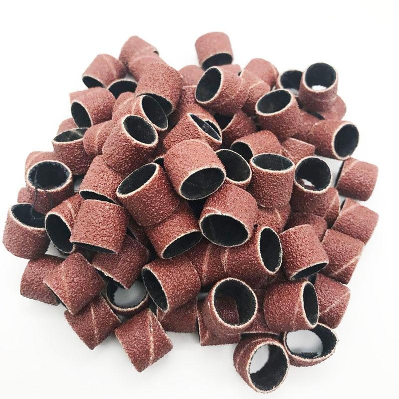 100pcs Sanding Bands Sleeves & 2 Mandrels Grinding Electric Polishing Sandpaper Circle Sand Ting