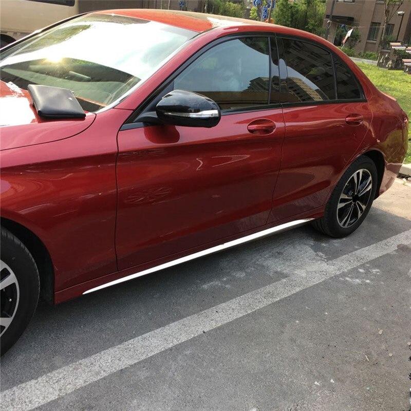 Pour mercedes-benz W205 voiture autocollants porte en acier inoxydable brillant bande C-CLASS W205 côté jupe accessoires décoratifs