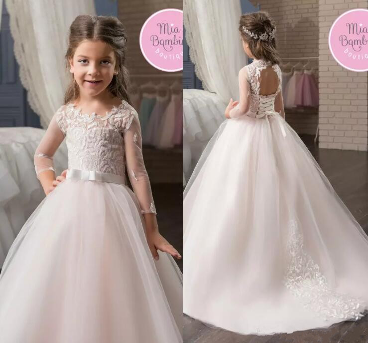 Sheer Long Sleeves Lace Flower Girls Dresses Jewel Neck Corset Back Kids Formal Wear Birthday Party First Communion Gown недорго, оригинальная цена