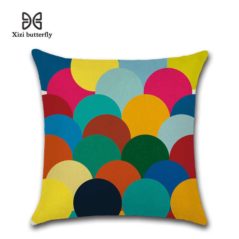 簡潔な幾何学模様クッションカバーカラフルな枕ソファベッドスローカバー六角形装飾枕カバー 45 × 45 センチ
