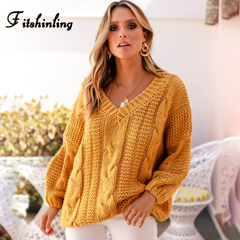 Fitshinling Twist 2019 Sweater Woman Winter 2019 Long Sleeve V Neck Yellow Women Sweaters And Pullovers Knitted Jumpers Female