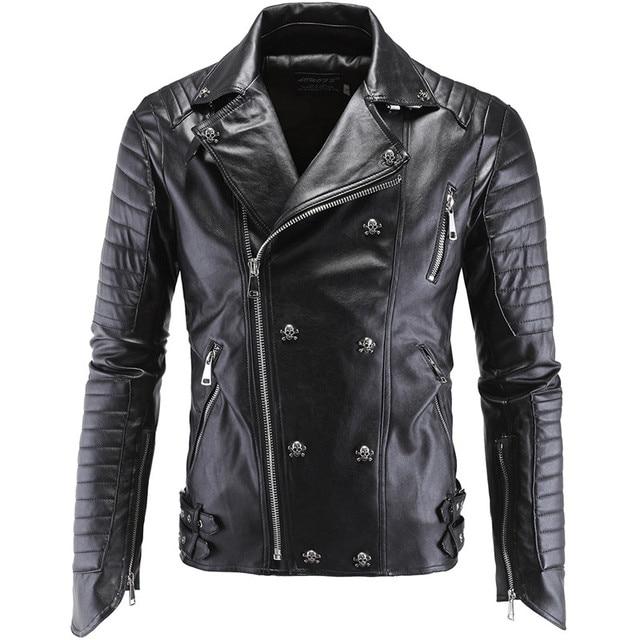 New 2016 fashion Skulls Leather Biker Jackets Men Coats Slim Motorcycle Bomber Jacket Mens Leather Jackets and Coats Big Size