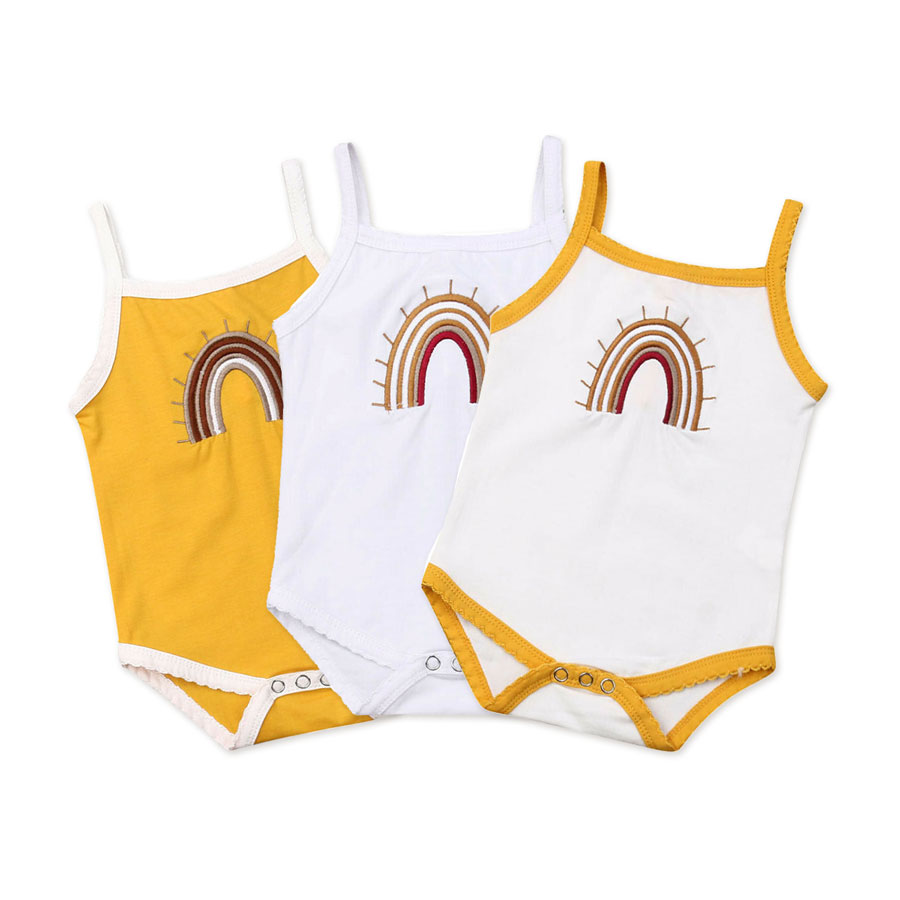 0-24M Newborn Baby Girls Boys   Rompers   Rainbow Jumpsuit Sleeveless Cotton Clothes Summer Baby Costumes