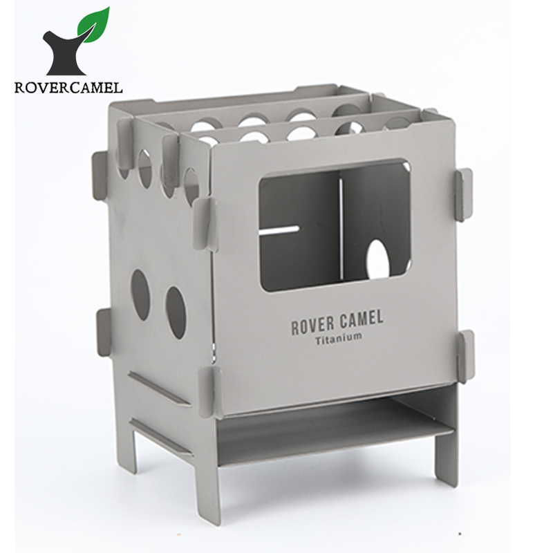 Rover Camel Ultralight Titanium Camping Stove Outdoor Folded Multi-Fuels Alcohol Stove BBQ Stove WS013ST