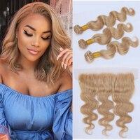 Guanyuhair #27 Honey Blonde Bundles Brazilian Body Wave Human Hair Weave 3 Bundles with Frontal Closure 13X4