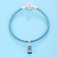 Nice Cherry Fashion Popular Superior Quality 925 Sterling Silver Heart Clasp Leather Bracelets