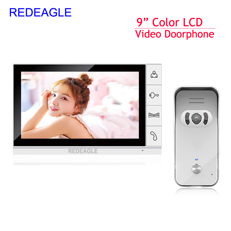 Wired 9 Inch Color LCD Monitor Video Door Phone Doorbell Intercom System 940nm IR Night Vision Rainproof Camera