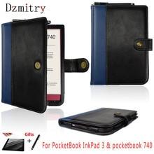 Чехол-книжка с откидной крышкой для Pocketbook InkPad 3 и PocketBook 740 (7,8 «-дюймов), карман для чтения, кожаный чехол с магнитом + пленка + ручка