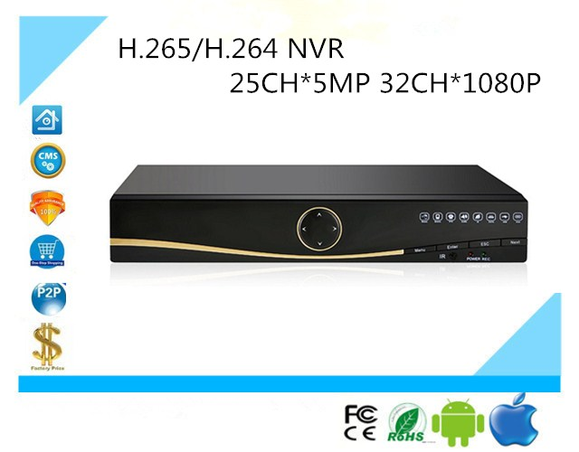 H 265 H 264 NVR Network Digital Video Recorder DVR 25CH 5MP 32CH 1080P 2 SATA
