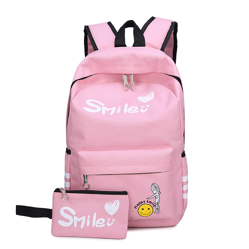 RUIPAI 2 Pcs/sets Students Schoolbag and Pencil bag Children Shoulder Bag Girls Light Weight Backpack Pencils With Smile pack