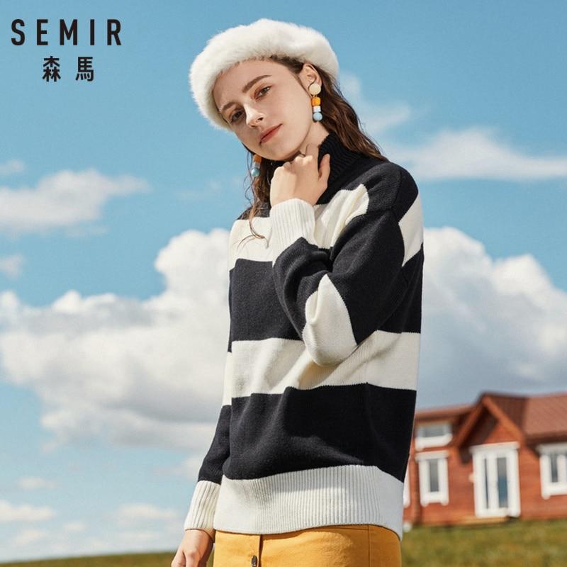 SEMIR Women Long Stripe Wool Blend Turtleneck Sweater Rib