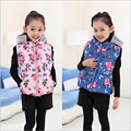 new arriver children vest kids flower thick warm cotton hooded girls vest child clothes baby girls outwear clothes for 2-12Y