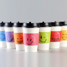 200 pcs Disposable Cup sleeve for disposable cups Smiling face Double-deck paper coffee tea juice Anti-hot Customized