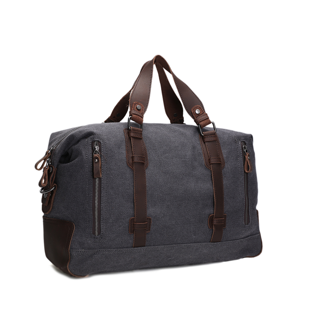 ROCKCOW Vintage Military Canvas Leather Big Duffle Bag Men's Travel Bags Carry on Luggage bags Large Road Weekend AF11