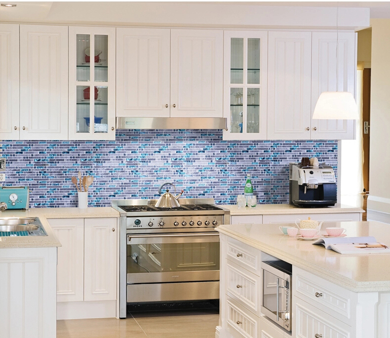 Sea Blue Glass Mosaic Tile Kitchen Backsplash Grey Marble Bathroom