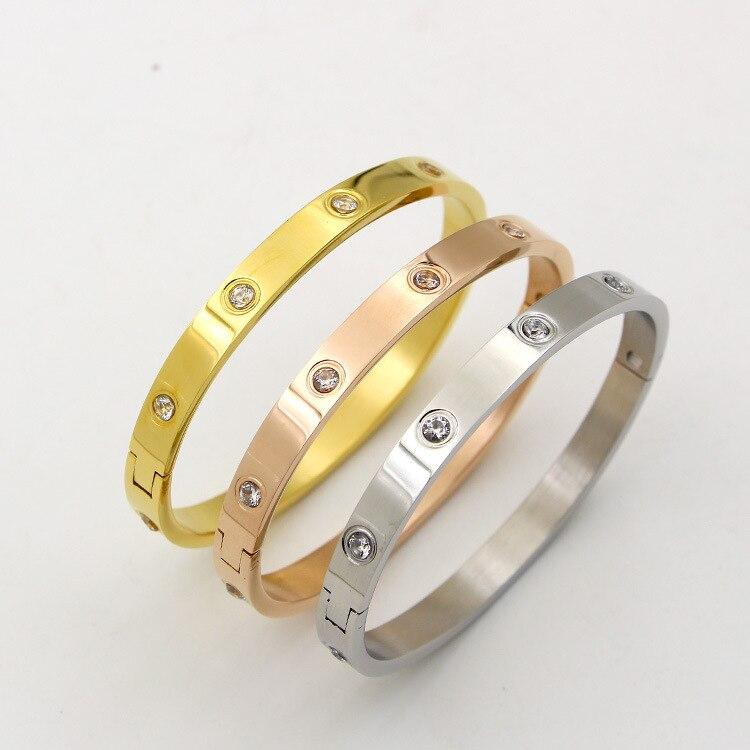 62e59835aedc5 Titanium Steel Screw Bracelets for Women Men Lover Bangles Bracelet ...