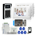 "FREE SHIPPING New 7"" TFT Video Door Phone Intercom System 2 Screens + Outdoor RFID Code Keypad Doorbell Camera + Electric Lock"